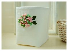 box white linen green pink Hydrangea flower Bin Wool by hoganfe, $30.00  #wedding