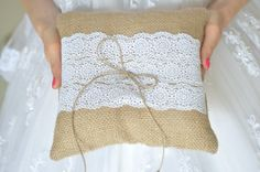 Burlap Ring Pillow  Burlap Bearer Pillow Ring Cushion with Lace Ring pillow Woodland / Rustic / Cottage style Weddings