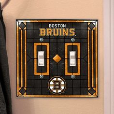 "Boston Bruins Art-Glass Double Switch Plate Cover by Football Fanatics. $14.95. Electrify any room with this art-glass double switch plate cover and add a subtle team-spirited accent to your home or office!Team colors and logo5"" tall x 5.5"" wideFour mounting holes (screws included)Hand paintedImportedOfficially licensed NHL product"