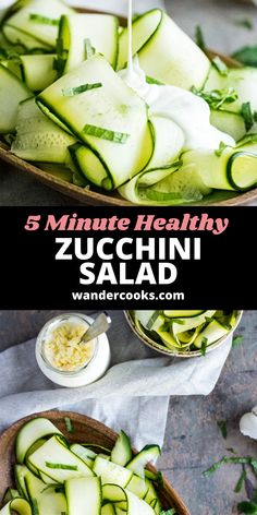 Just 4 ingredients are needed for this light and refreshing Raw Zucchini Salad (also known as Salade de Courgettes). It's such an easy cold salad recipe, you can whip it up in just 5 minutes! Enjoy as a healthy lunch or side Summer salad. Easy Summer Salads, Summer Salad Recipes, Easy Salad Recipes, Easy Dinner Recipes, Vegetarian Recipes, Healthy Recipes, Raw Zucchini Salad, Healthy Zucchini, Dinner Salads