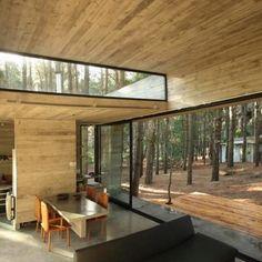 Duże okna, fajne drewno i ciekawe okno w dachu