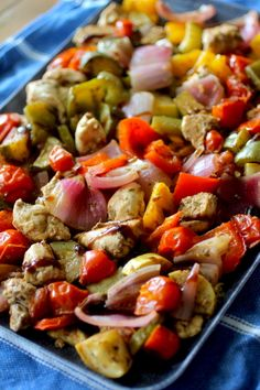 One Pan Roasted Balsamic Chicken & Veggies