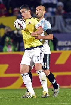 James and Mascherano .Copa America Chile 2015 Match Argentina vs Colombia 26.6.15
