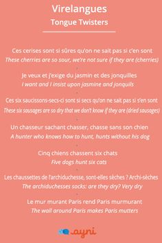 Virelangues / Tongue Twisters to practice your French pronunciation!