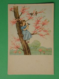 Mariapia Maria pia Tomba vecchia cartolina bambina su albero PRIMAVERA | eBay