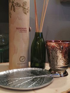 Rosemary Citrus Fragrance Diffuser $29, Small Leaf Plate $9