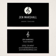 music teacher black and white business card