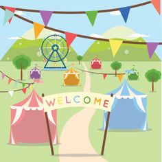 Coloured fair in the park design Free Vector