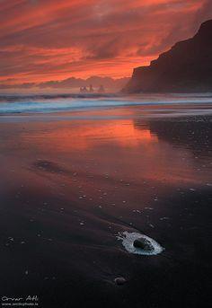 ✯ Blood Red Sunset at Vík, Iceland