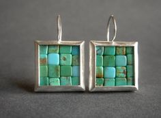"""turquoise and silver Mosaic Earrings by Artesserae on Etsy / earrings have been bezel set with Chinese turquoise cube beads in pretty, warm turquoise colors, mostly on the green-blue side. The silver has been surface brushed, then burnished on the edges. They measure about 29 millimeters from the top of the ear wire to the bottom of the earrings, and about 18 millimeters wide.  In inches, that is circa 1 1/8"""" long X 11/16"""" wide."""