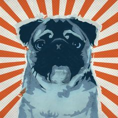 6x6 Pug No1  Retro Pop Art Dog Print by MonsterGallery on Etsy, $9.00