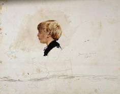 Andrew Wyeth and Jamie Wyeth, Jamie in Blue Sweater, Study for Jamie by the Fireplace,1949. Watercolor on paper; graphite on paper; 16 x 20 in.