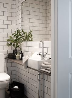 Even though this guest #bathroom might be small, it utilizes all the space it has nicely! www.remodelworks.com