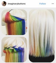 Trend Watch: Hidden Rainbow Hair Rainbow hair has been pretty popular for the past few years. Previous trend watches have covered trends such as rainbow roots, rainbow bangs and opal hair. But what do you do if it's inappropriate to Hidden Rainbow Hair, Opal Hair, Underlights Hair, New Hair Trends, Coloured Hair, Unicorn Hair, Dream Hair, Crazy Hair, Cool Hair Color