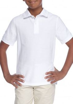 J. Khaki Boys' Solid Pique Polo Boys 8-20 - White - Xl