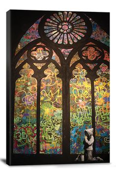 BANKSY STAINED GLASS WINDOW GRAFFITI 26INX18IN CANVAS PRINT