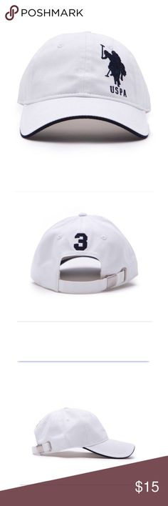 White Logo Cap | U.S Polo Never worn • white & dark blue (almost black looking) • No stains /signs of use  Feel free to ask any questions . 💋 U.S. Polo Assn. Accessories Hats