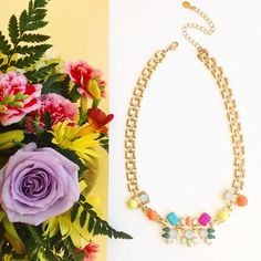 We couldn't decide, so we got both; Flowers or our Standout Floral Necklace? #letitstormjewelry #necklace #statementnecklace