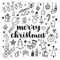 Vrolijke kerstkaart met de tekst Merry Christmas en verschillende vrolijke zwart wit illustraties | Make this card at Kaartje2go