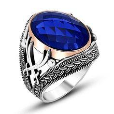Bague Chevalière Homme Argent Massif 925 Epee Serti Zircon Facette Oval Facetté Couleur Bleu Marine Mens Sterling Silver Ring Lithothérapie de la boutique madanur sur Etsy