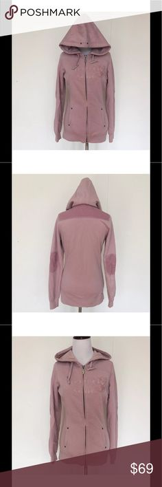 "Triple 555 Five Soul Pink Tunic Hoodie S & M Triple 555 Five Soul Dusty Pink Zip Up Tunic Hoodie Elbow Patch Corduroy  Super rare!! Long dusty pink tunic hoodie with corduroy elbow patches. Double ended zipper and 2 front pockets. Triple Five Soul sewn on in patches on the front with velvety appliqué.  Large drawstring lined hood. Frayed seams and super soft interior.    Size: Medium - More Sizes in my eBay Store! Bust (flat): 19.5"" - Stretches to 22""  Length (from shoulder): 26""  Sleeve…"