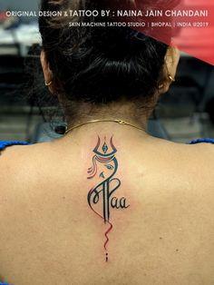 Maa-Paa with Lord Shiva Ganesha Elements designed by our team. - Maa-Paa with Lord Shiva Ganesha Elements designed by our team. Tattoo done by : Naina jain chandani - Mom Dad Tattoo Designs, Maa Tattoo Designs, Trishul Tattoo Designs, Mom Dad Tattoos, Shiva Tattoo Design, Heart Tattoo Designs, Tattoo Designs And Meanings, Krishna Tattoo, Ganesh Tattoo