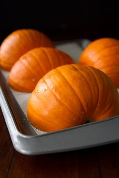 I've been doing this for a couple years. So much tastier than canned pumpkin and it is SO SO easy! How To Roast A Sugar Pumpkin & Make Fresh Pumpkin Purée – A Step by step Photo Tutorial Sugar Pumpkin, Canned Pumpkin, Libby's Pumpkin, Roasting Pumpkin For Pie, How To Roast Pumpkin, Pumpkin Rolls, Spiced Pumpkin, Pumpkin Bars, Pumpkin Recipes