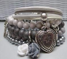 Armbandenset 5 stuks grijs / wit