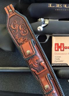 All rifle sling are made of cowhide, pigskin,kangaroo lace, hand tooled and dyed. Pouches are for extra shells.