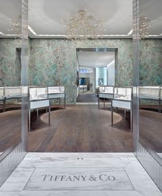 Tiffany & Co. - SoHo Flagship Store, New York designed by Tiffany & Co. Jewelry Store Design, Jewelry Stores, Etsy Jewelry, Shop Interior Design, Retail Design, Tiffany Store, Tiffany And Co, Tiffany Blue, Jewellery Showroom