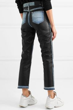 ac95437f AMIRI | Paneled leather and denim high-rise straight-leg jeans |  NET-A-PORTER.COM