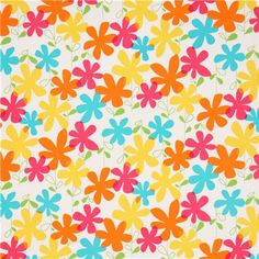 white flower fabric with vibrant colours Michael Miller USA