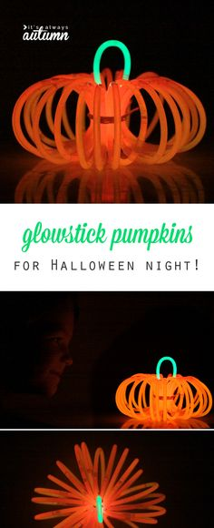 Glowstick pumpkins - so cute! This would be a perfect activity to keep the kids busy on Halloween while they're waiting to start trick or treating.