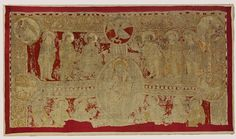 Altar frontal Place of origin: Catalonia, Spain (embroidered) Date: century (embroidered) Artist/Maker: unknown (production) Materials and Techniques: Linen embroidered with silks Textiles, Early Middle Ages, Altar Cloth, Church Interior, Antique Sewing Machines, 12th Century, Kirchen, Embroidered Silk, Embroidery Stitches