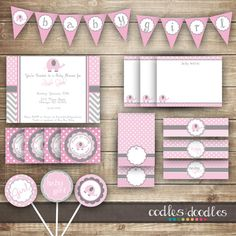 Elephant Baby Shower / Chevron & Polka Dots / Pink and Gray PARTY PACKAGE  / Baby Girl Party Kit - Printable on Etsy, $35.00