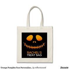 Orange Pumpkin Face Personalized Treat Bag