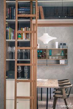 Glass doors on a ladder bookshelf