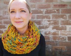 Arm knitted infinity scarf - multicoloured mustard yellow
