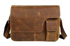 "Men Vintage Cowhide Leather 14"" Laptop Messenger Bag Retr..."
