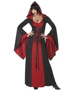 "Deluxe Black Hooded Cape Vampire 51/"" Long Dracula Halloween Fancy Dress Costume"