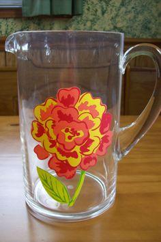 Clear Acrylic Pitcher Flower Design Holds 64 Ounces of Tea Water Lemonade Juice