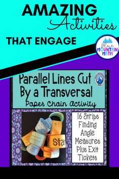 Looking for a fun activity that is self-checking, collaborative and practices finding angle measures of parallel lines cut by a transversal? This is a set of 16 problems that need to be cut apart, reassembled in the correct order and fastened together like a chain until the end is reached. The angles are vertical angles, linear pairs, corresponding angles, consecutive interior angles, alternate exterior angles and alternate interior angles.