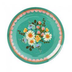 Melamine desert plate with Jade flower print - Rice DK