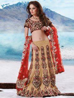 Cream Net Lahenga Choli With Resham Work