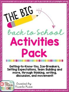 Back to School:  Beginning of the Year Activities Pack