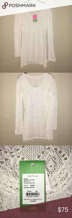 BRAND NEW Lilly Pulitzer White Sweater Never been worn. This sweater is long and more of a dress. I was planning to use it as a beach cover-up. Very light weight! Lilly Pulitzer Sweaters Crew & Scoop Necks