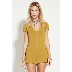 4429996ba23 Forever 21 Women s Buttoned Crinkled Gauze Romper ( 18) ❤ liked on Polyvore  featuring jumpsuits