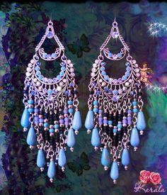 Long Blue and Silver Bohemian Chandelier Earrings Large by kerala