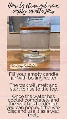 Clean Candle Jars, Reuse Candle Jars, Yankee Candle Jars, Diy Candles, Scented Candles, Candle Making Jars, Candle Wax, Diy Cleaning Products, Cleaning Hacks