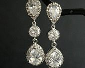 Wedding Jewelry Bridal Earrings Wedding Earrings Silver Cubic Zirconia Posts with Cubic Zirconia Drops